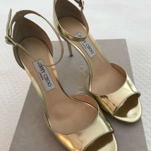 f3b97899f5ef Jimmy Choo Shoes - Jimmy Choo Annie Gold Ankle Strap Heels 39.5.